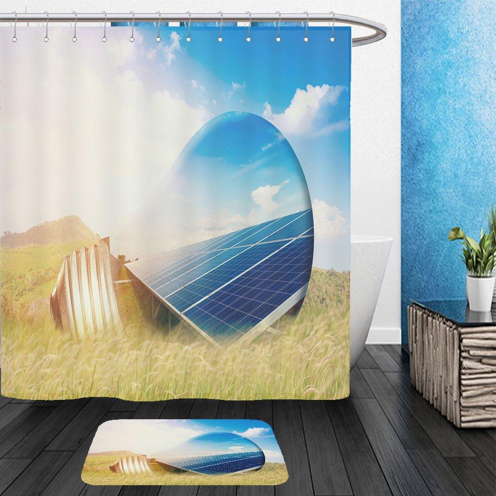 Vanfan Bathroom 2Suits 1 Shower Curtains & 1 Floor Mats light bulb and solar panels 533448427 From Bath room