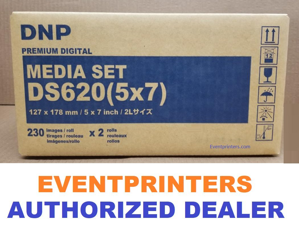DNP 5x7'' media for DS620A Printer (Total of 460 Prints). Paper and ribbon print kit. COMES WITH FREE SAMPLES OF OUR BEST SELLING PHOTO FOLDERS ( EVENTPRINTERS BRAND ). by DNP and Eventprinters