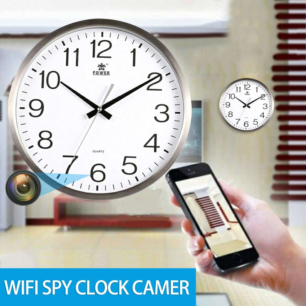 Wall Clock DIY & Tools Bloomma Hidden Spy Camera Wifi Round Clock HD
