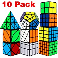 Speed Cube Set, Libay Cube Bundle 2x2 3x3 4x4 5x5 Pyramid Megaminx Skew Mirror Ivy Windmill Sticker Magic Cube Collection - Puzzles Cube Toys Kids and Adults Set of 10