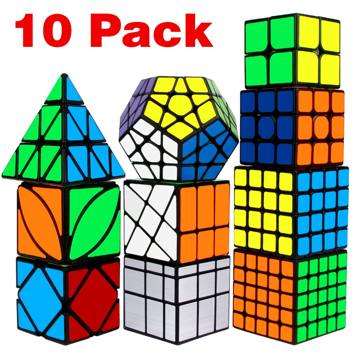 Speed Cube Set, Libay Cube Bundle 2x2 3x3 4x4 5x5 Pyramid Megaminx Skew Mirror Ivy Windmill Sticker Magic Cube Collection - Puzzles Cube Toys Gift for Kids and Adults Set of 10 by Libay