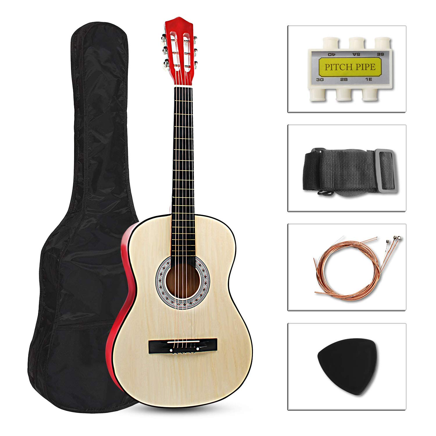 ARyee 38'' Acoustic Cutaway Guitar Beginner Kit with Gig bag, Strap, Tuner and Pick (Red) by ARyee