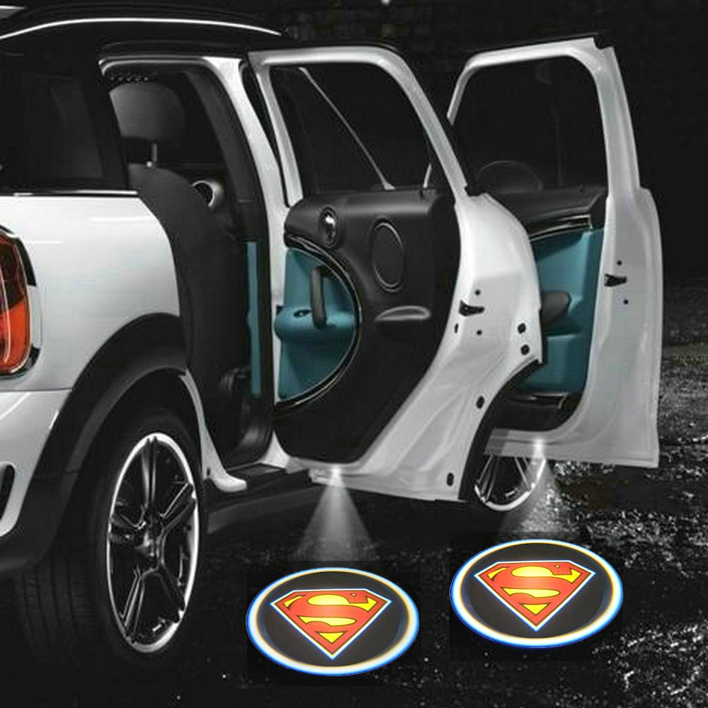 ZOZ 2pcs Wireless No Drill Type LED Laser Car Door Light Welcome Projector Light Logo Ghost Shadow Emblems Magnet Sensor Easy Installing (Superman) Autumi D199