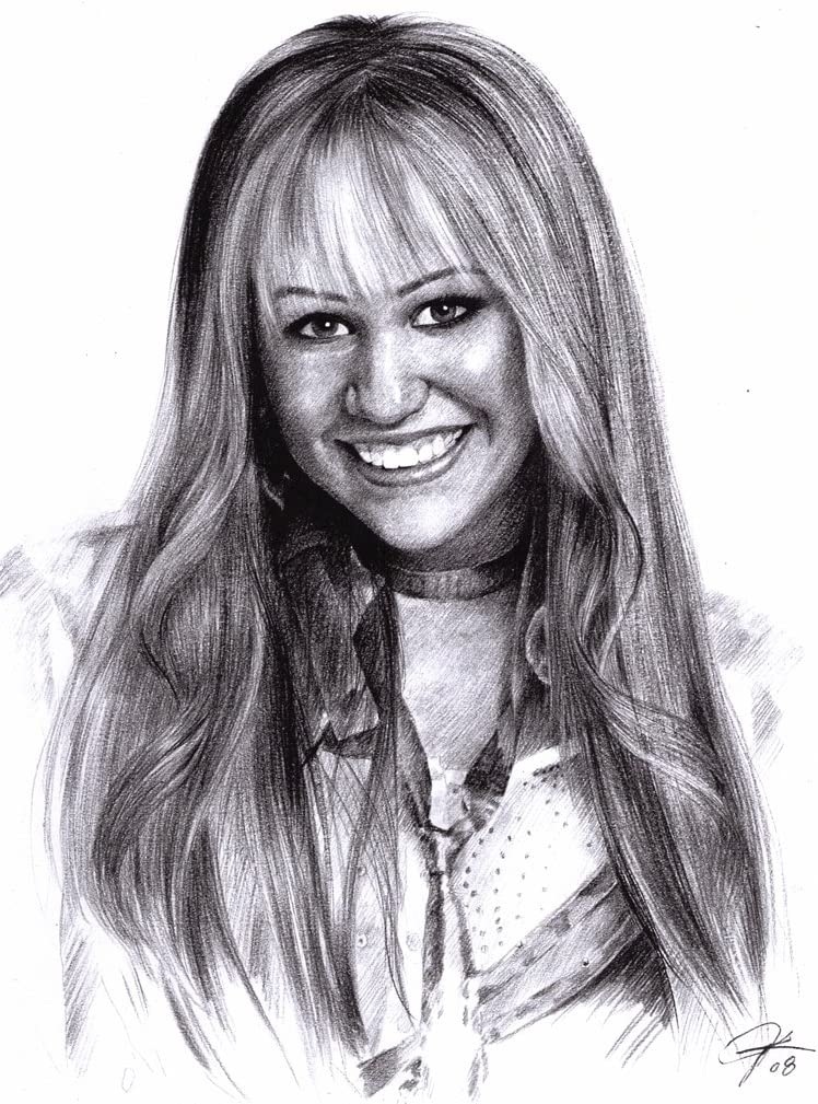 Amazon Com Miley Cyrus As Miley Stewart In Hannah Montana Sketch Portrait Charcoal Graphite Pencil Drawing Poster 11 X 14 Print Wu232 Posters Prints