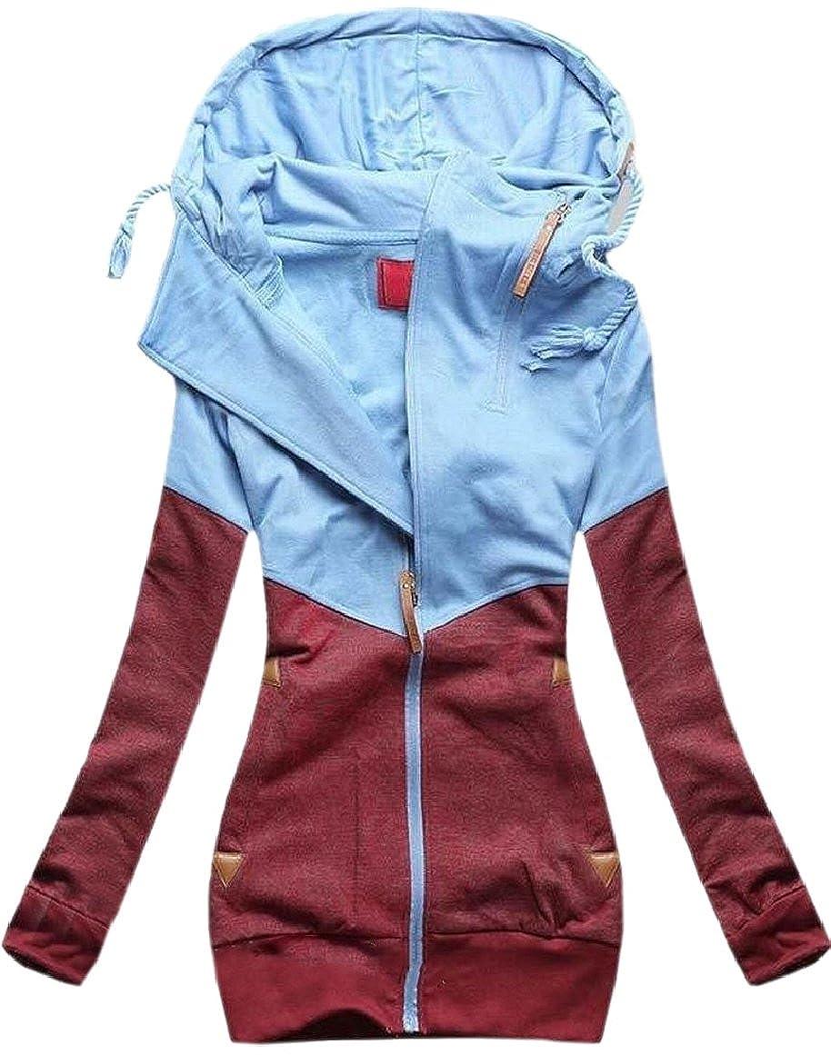 pujingge-CA Women's Pockets Outerwear Full Zip Color Block Hoodies Sweatshirt Jacket