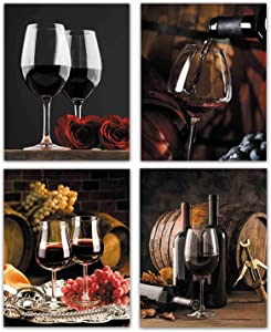 """Wall Art Fruit Grape Red Wine Glass Painting for Dining Room Wall Decor Art Red Wine Cups HD Barrel Bar Set of 4 Wall Art for Kitchen Dining Room Home Decor Unframed ("""" 8x10""""Canvas Picture)"""