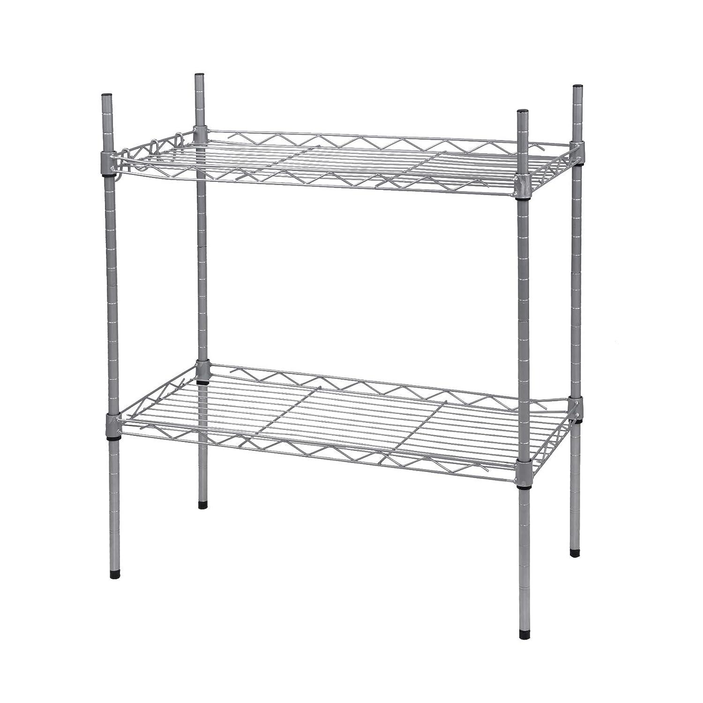 WOLTU Mesh Adjustable Shelves Standing Shelving Unit Garage Rack Orgnazier Heavy Duty Wire Shelves 2-Shelf
