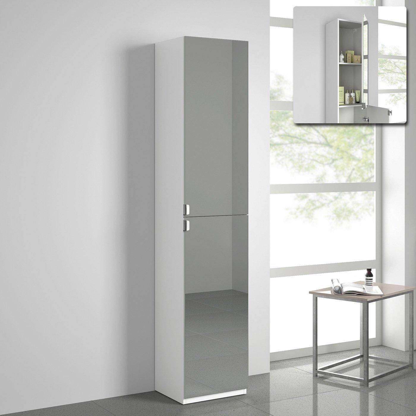 1700mm Tall Bathroom Mirror Cabinet Reversible Cupboard Floor Storage Furniture iBathUK