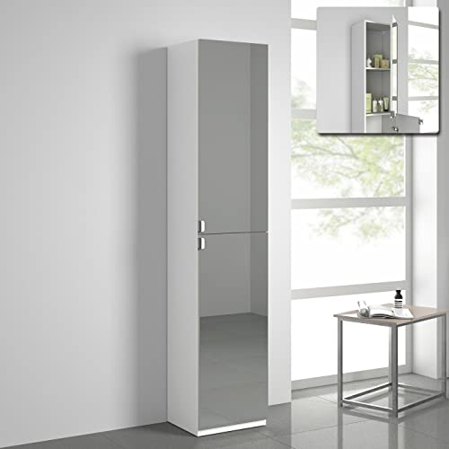 Freestanding bathroom cabinet - Mirrored free standing bathroom cabinet ...