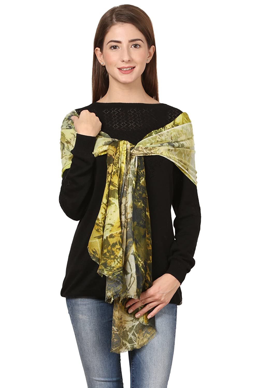 Cafsew Colours Womens Stole CG-0017-PWRM,Green,Modal Viscose