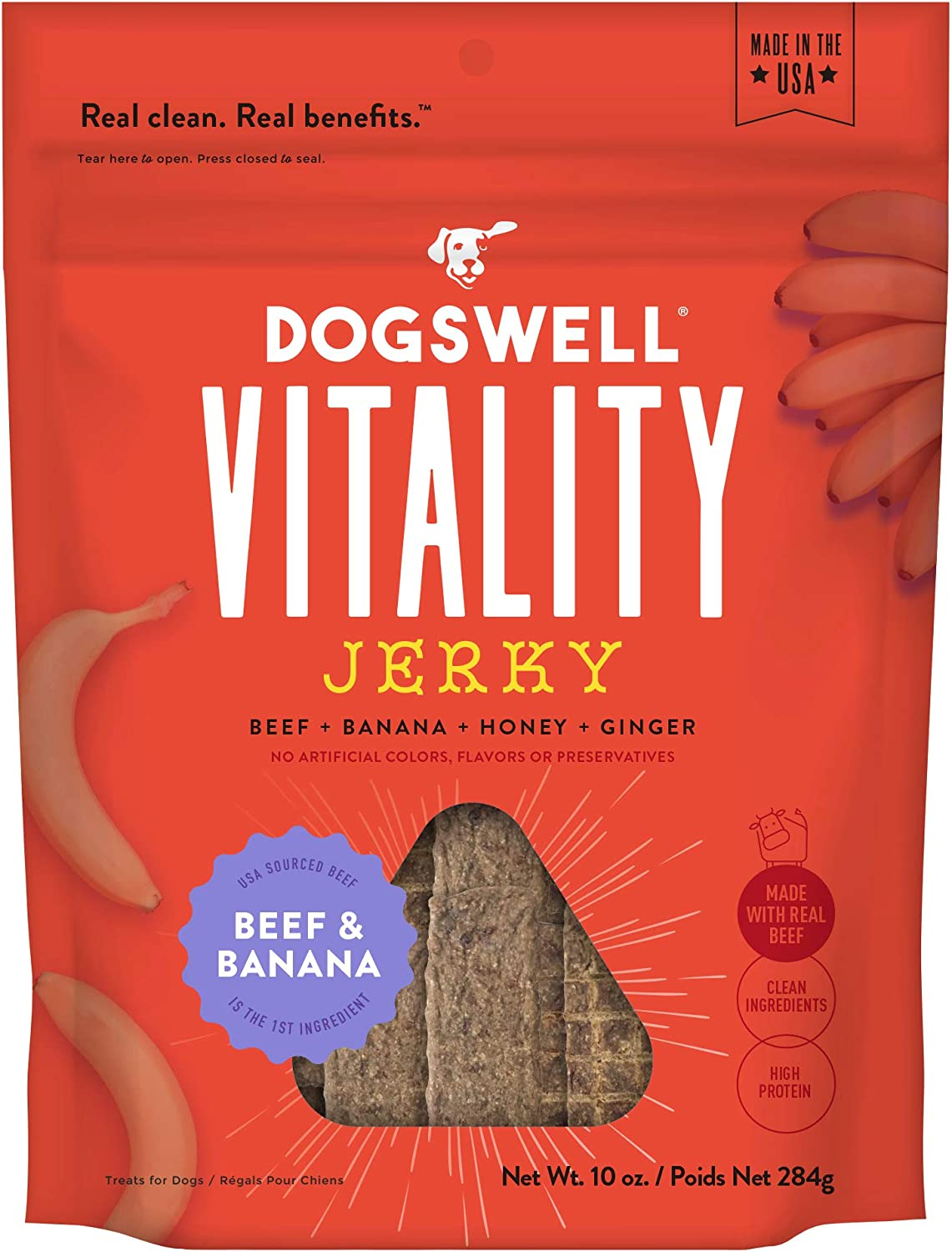 DOGSWELL Vitality 100% Meat Jerky Dog Treats, Made in The USA Only Grain Free, Protein