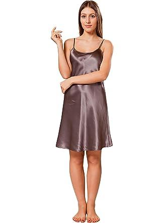 3096ee3275300 ElleSilk Women's Silk Slip Dresses, Silk Sleepwear, 22 Momme, Charcoal  Gray, ...
