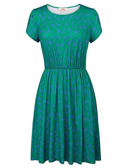 66b8534466e7 Women s Short Sleeve Casual Printed A-line Dresses Green Size S CL624-1