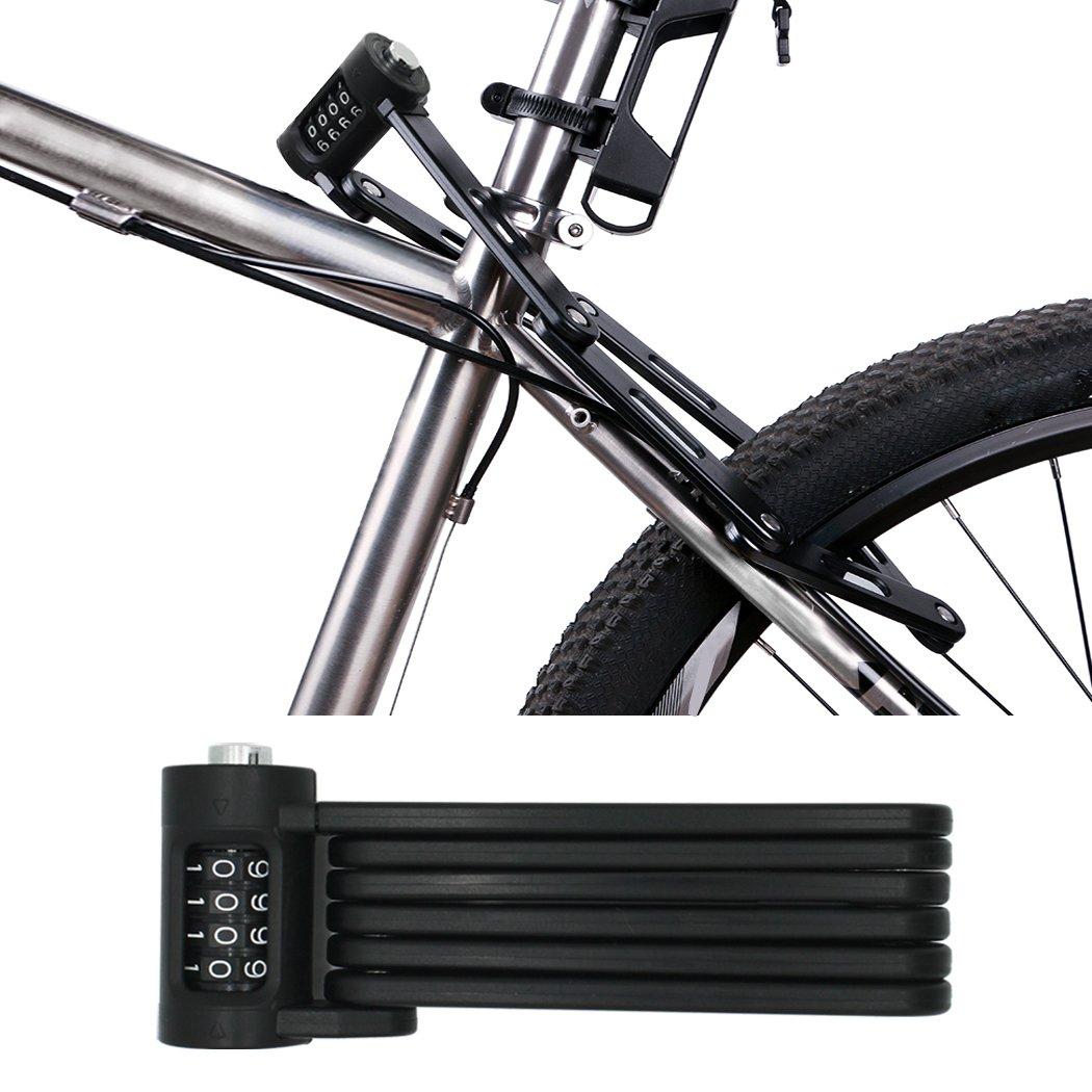 FLYDEER Universal Folding Bike Lock Steel Portable Chain Lock Heavy Duty 6 Joints Bicycle Lock Anti-Theft Bike Password Lock with Storage Mounting by FLYDEER