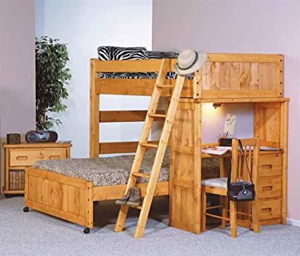Amazon Com Chelsea Home Twin Over Full Loft Bed With Desk End In