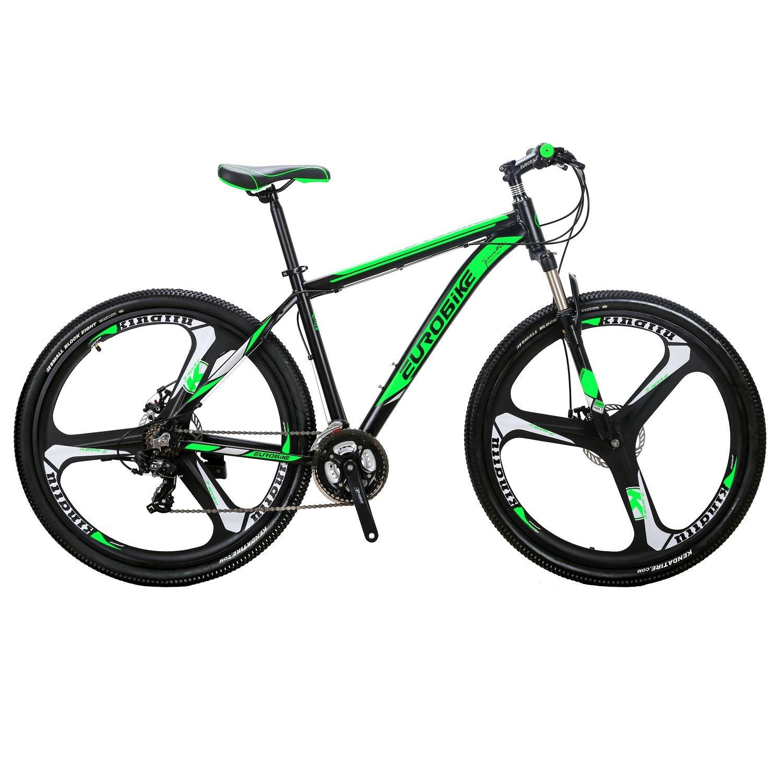 EUROBIKE X9アルミニウム合金フレーム 29 マウンテン 21速 変速 マウンテンバイク 前後ディスクブレーキ 3つのスポークのラウンド 通学 自転車 通勤自転車 B078RYZWKT 黒と緑 黒と緑