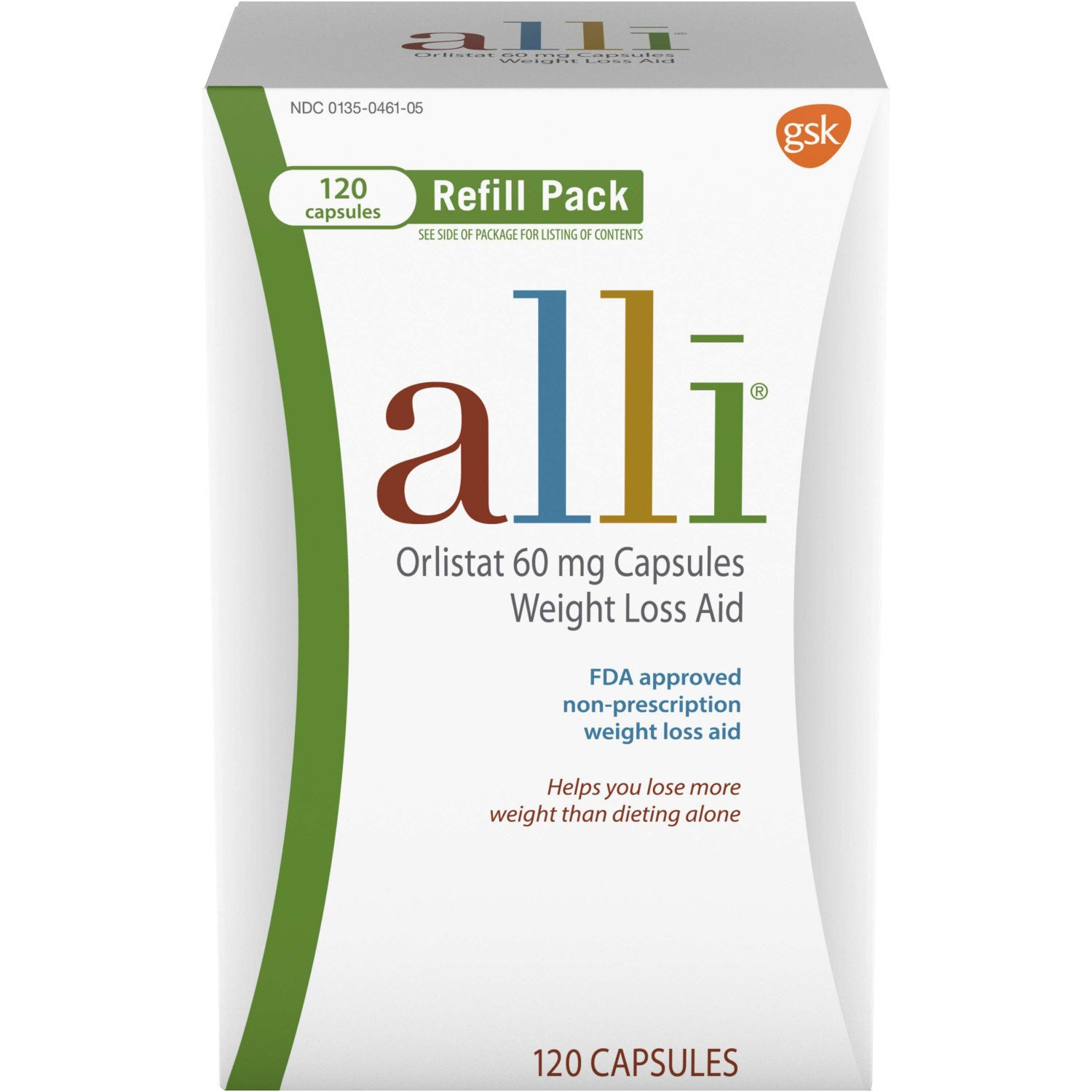 alli Diet Pills for Weight Loss, Orlistat 60 mg Capsules, Refill Pack 120 count