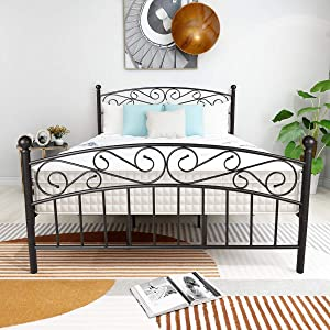 Elegant Home Products Bed Frame Platform Bed Heavy Duty with Headboard and Footboard Mattress Foundation Bedroom Furniture No Box Spring (Black Sand-LINE, Queen)