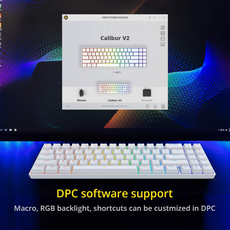 71-Key Small Compact US Layout Black DREVO Calibur V2 Cherry MX Blue RGB 60/% Wired Mechanical Gaming Keyboar Work for PC//Mac