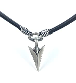 b463be372b9b Bico Australia Men s Black Leather Necklace with Arrowhead Pendant - Cool  Jewelry for Men