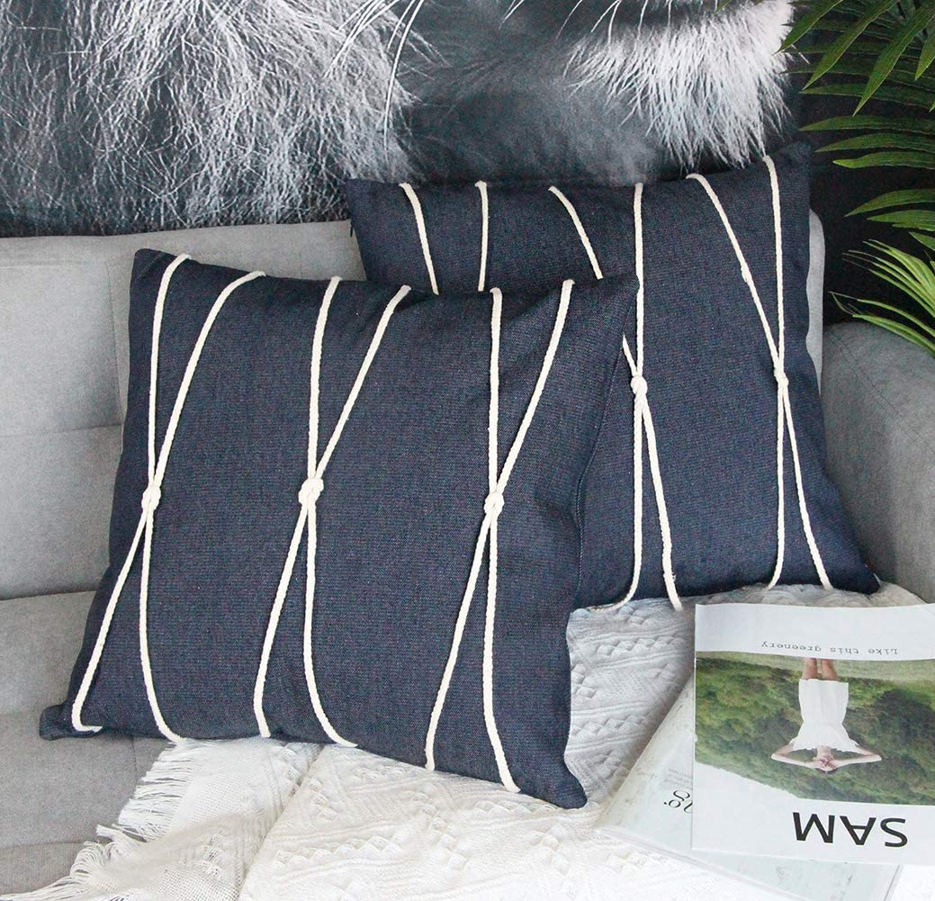 Uhomy Home Decorative Denim Throw Pillow Cover with Rope Decoration Modern Farmhouse Style Classic Navy Blue Jean Cushion Cases for Bed Sofa Chair Car, Western Cowboys 18x18 inch(45x45 cm) Set of 2