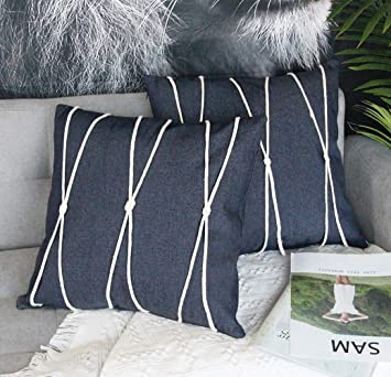 Fantastic Uhomy Home Decorative Denim Throw Pillow Cover With Rope Decoration Modern Farmhouse Style Classic Navy Blue Jean Cushion Cases For Bed Sofa Chair Theyellowbook Wood Chair Design Ideas Theyellowbookinfo