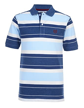 b420d7901 Amazon.com  Chaps Boys  Short Sleeve Striped Polo with Stretch  Clothing
