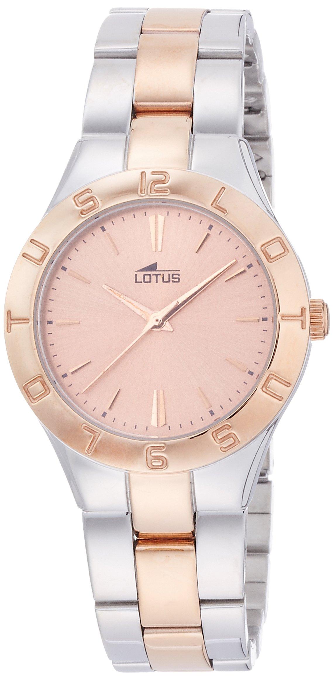 Lotus 0 - Reloj de cuarzo para mujer, con correa de acero inoxidable, color