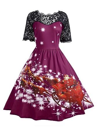 687ae5c286e CharMma Women s Vintage Plus Size Christmas Short Sleeve Lace Panel Party  Dress (XL