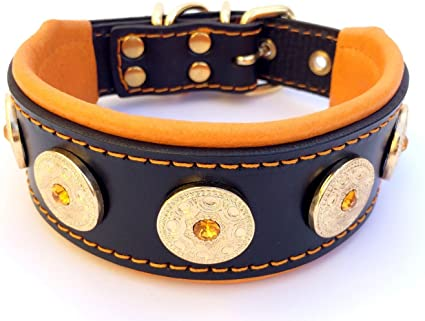 soft padded Hand made in Europe! Bestia genuine leather studded dog collar