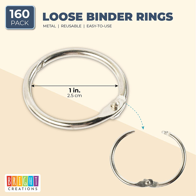 Metal Keychain Clips for DIY 1 Inch, 160 Pack Loose Leaf Book Binder Rings
