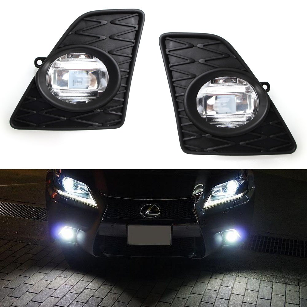 iJDMTOY Lexus F-Sport Style 15W High Power LED Fog Light Kit For 2013-2015 Lexus GS350 GS460 GS450h GS, Xenon White