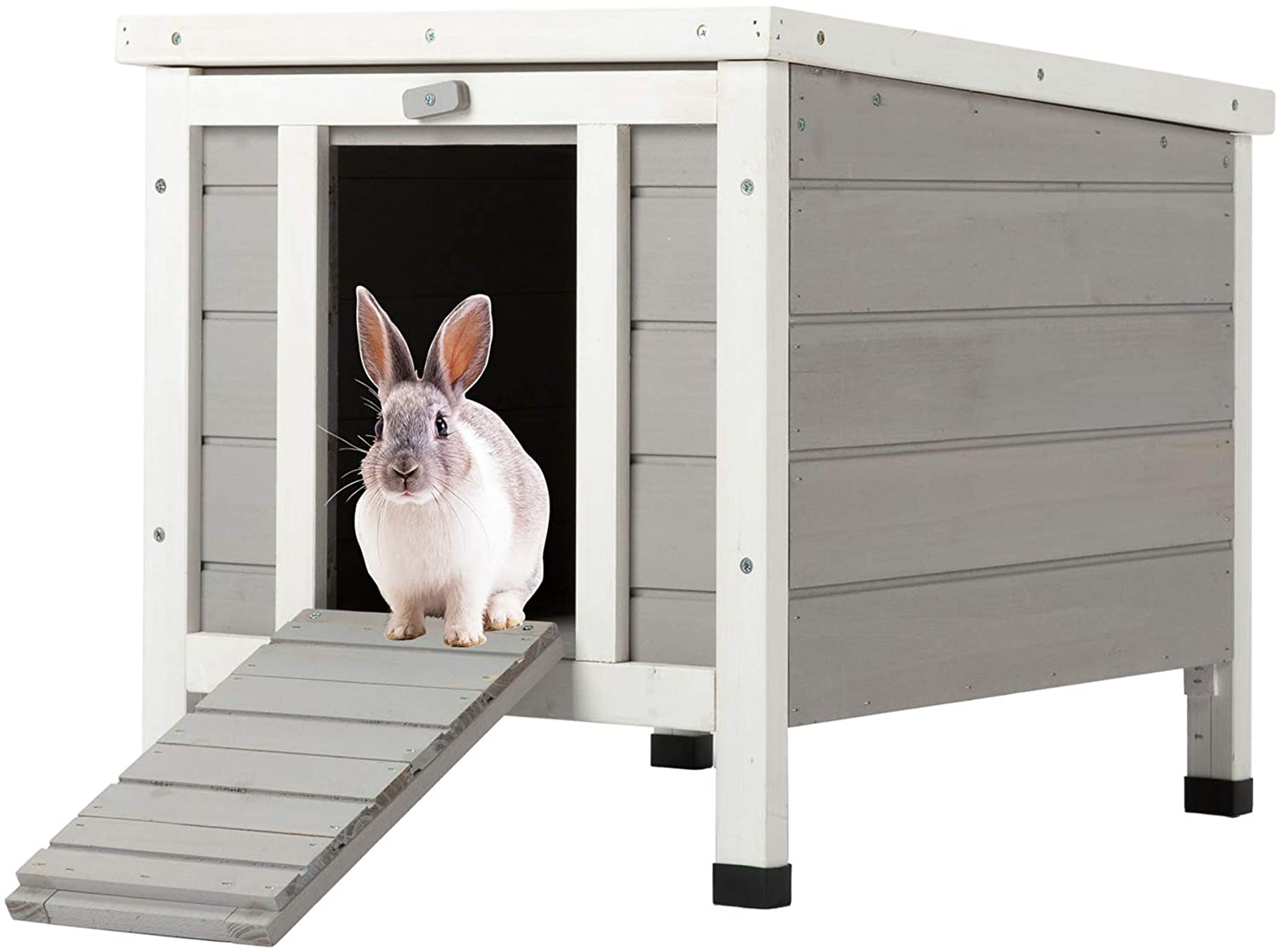 Amazon Com Co Z Topnotch Weatherproof Outdoor Wooden Bunny Rabbit Hutch Pet Cage Cat Shelter In White Pet Supplies