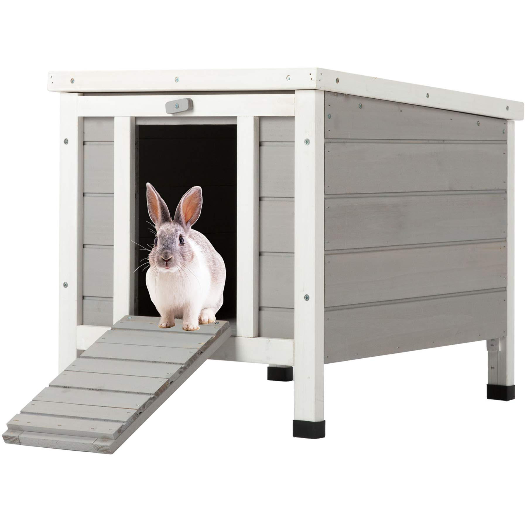 CO-Z Topnotch Weatherproof Outdoor Wooden Bunny Rabbit Hutch Pet Cage Cat Shelter in White by CO-Z