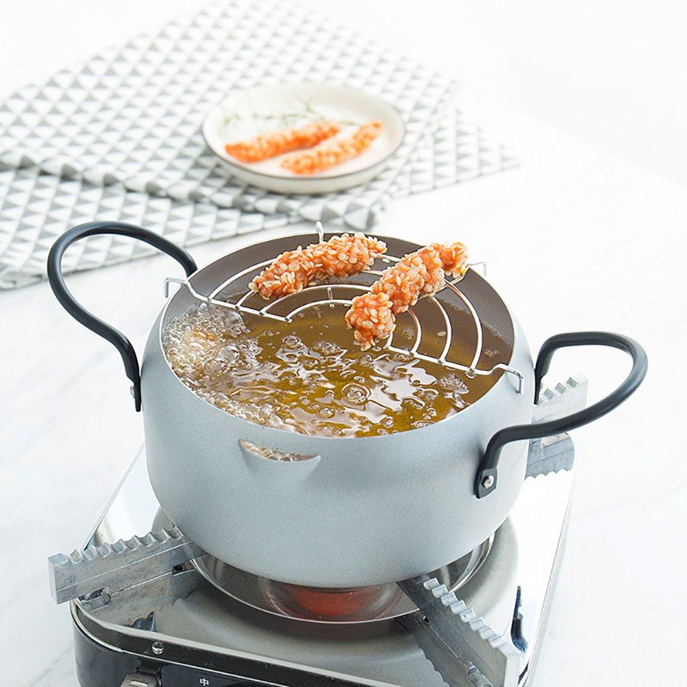 Tempura Fryer Pot, Mini Deep Fry Pan with Drainer Mini Deep Frying pan with Oil Frying pan 8 in Silvery