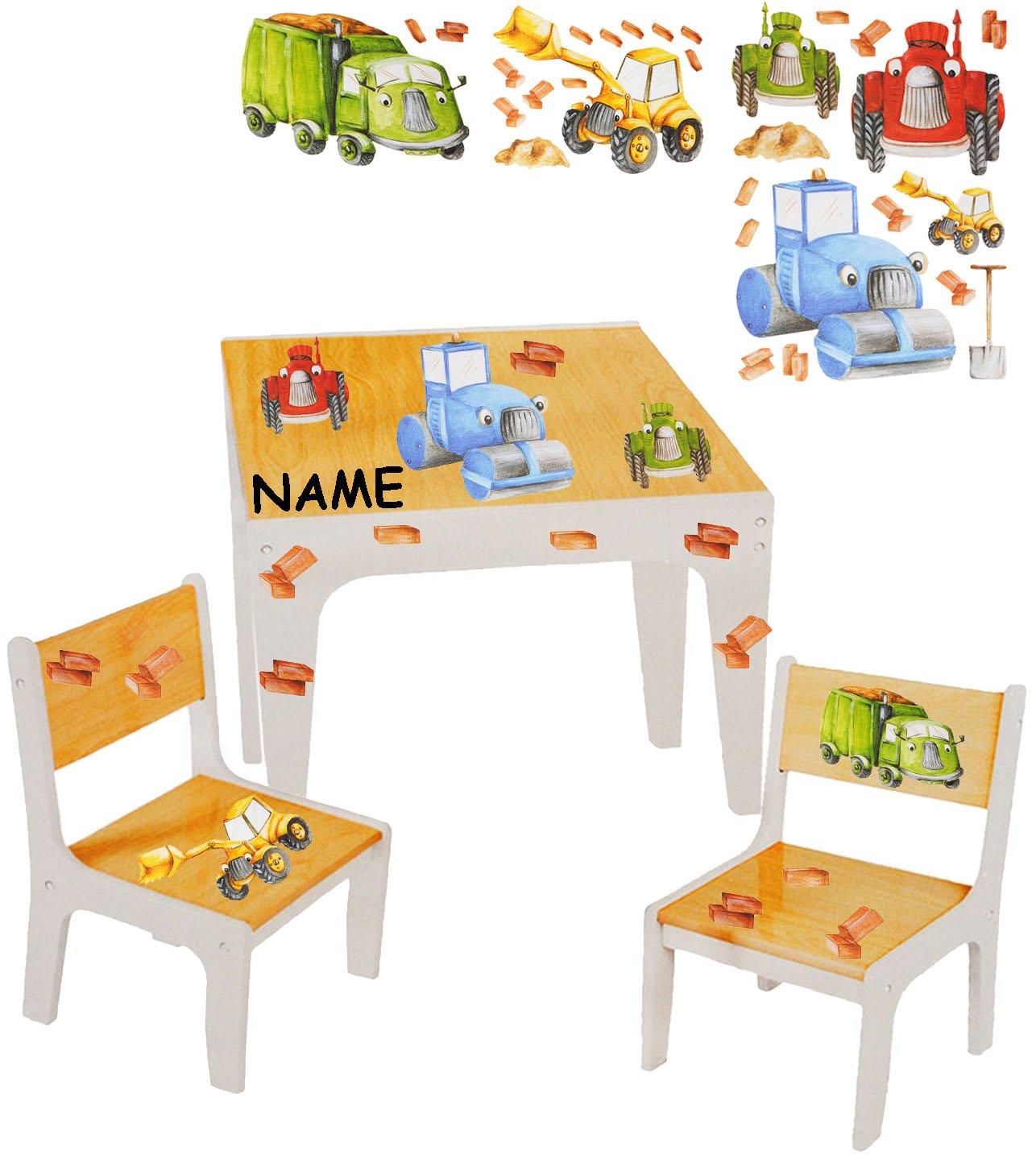 Unbekannt 3 TLG. Set  Sitzgruppe   Sitzgarnitur für Kinder - sehr stabiles Holz -  Bagger   Traktor & Auto  - incl. Name - Tisch + 2 Stühle   Kindermöbel für Jungen &..