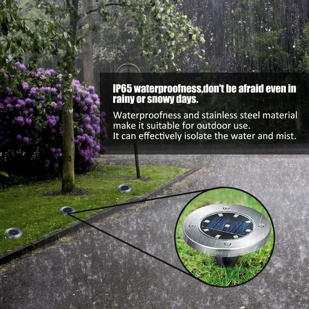 Lacyie 8 LED Solar Garden Light Waterproof Patio Light with Dark Sensing for Yard Driveway Lawn Pathway Solar Ground Lights Outdoor White 4 Pack
