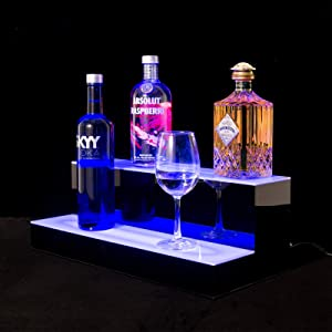 SUNCOO LED Lighted Liquor Bottle Display 20 Inch 2 Step Illuminated Bottle Shelf for Home Commercial Bar Drinks Lighting Shelves High Gloss Black Finish with Remote Control