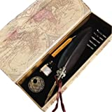 Antique Feather Writting Quill Pen Gold Pen Stem Real Feather Calligraphy Pen Set 100% Quality Guarantee