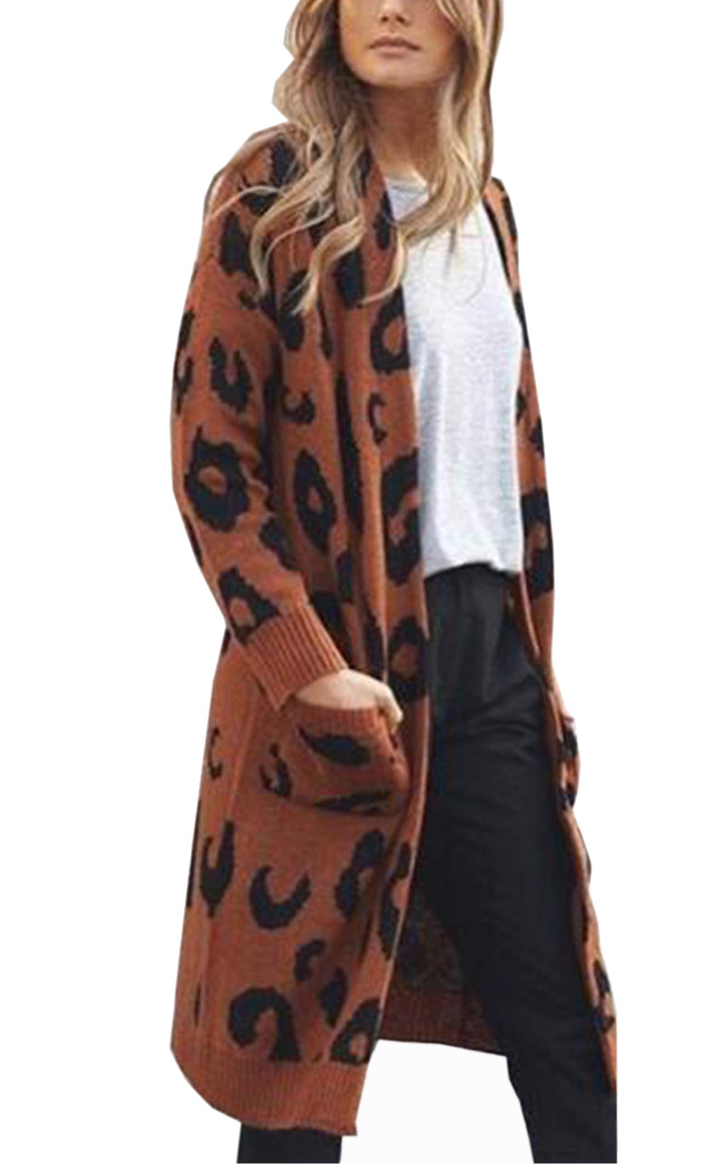 Angashion Women's Long Sleeves Leopard Print Knitting Cardigan Open Front Warm Sweater Outwear Coats with Pocket Coffee S