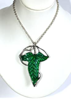 Amazon ruimeng silver plated lord of the rings arwens evenstar lord of the rings aragorn elven green leaf sporting brooch pin hobbit pendant necklace sporting aloadofball Gallery
