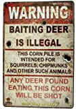 """Ochoice Warning Signs Retro Road Signs with Baiting Deer is Illegal Sign 8""""X12"""""""