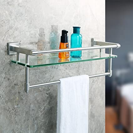Superb Alise Shower Glass Shelf SUS 304 Stainless Steel Bathroom Shelf With Towel  Bar/Rail Wall