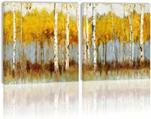 Birch Tree Forest Wall Art Decor Autumn Fall Yellow Modern Artwork Canvas Painting Prints Pictures Home Decor for Living Room Dining Room Bedroom