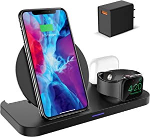 KKM Wireless Charger, 3 in 1 Qi-Certified Fast Wireless Charging Station Compatible with iPhone 12/12 Pro/12 Pro Max/11/11 Pro Max/X/XS Max/8, Charging Stand Dock for Apple Watch Series, AirPods Pro