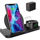 KKM Wireless Charger, 3 in 1 Qi-Certified Fast Wireless Charging Station Compatible with iPhone 13/13 Pro/13 Pro Max/13 mini/