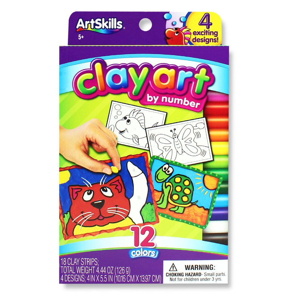 ArtSkills Clay Art by Number, Arts and Crafts Supplies, Strips of Clay, with Included Designs, 4 Count AMYS-113