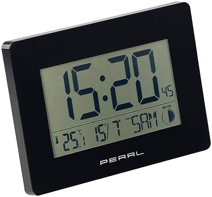 PEARL Funkuhr Tisch: Funk-Wanduhr mit Jumbo-Uhrzeit, Temperatur- & Datums-Anzeige, schwarz (Funkwanduhr Digital Jumbo)