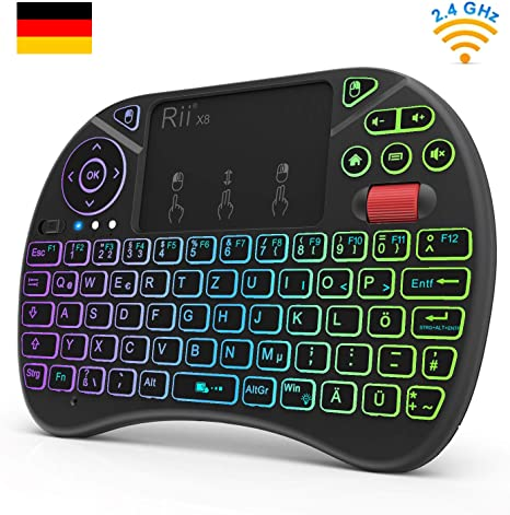 Rii X8 mini inalámbrico RGB Iluminación Teclado Touchpad de ratón con rueda de desplazamiento Combo, 2.4