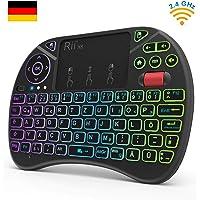 Rii X8 Mini Tastatur Wireless, Smart TV Tastatur Fernbedienung, 2,4 GHz-Tastatur mit 8 Hintergrundbeleuchtung und Scrollrad, Mini Tastatur Kabellos mit Touchpad(Deutsches Layout)